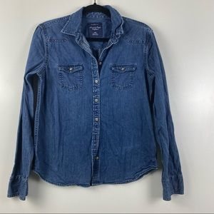 American Eagle Denim Button Up Long Sleeve Shirt